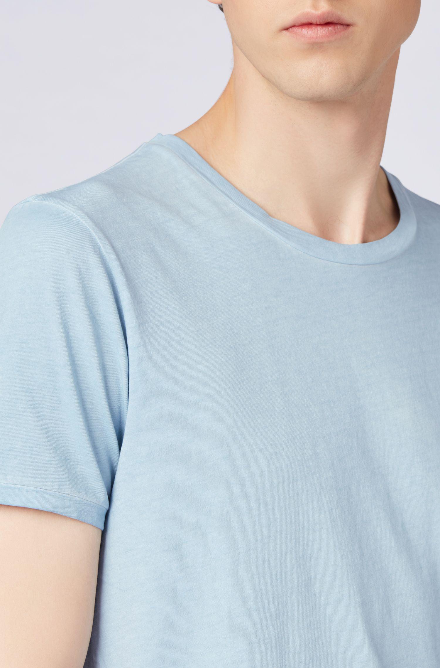 Stückgefärbtes Regular-Fit T-Shirt aus Baumwolle, Hellblau