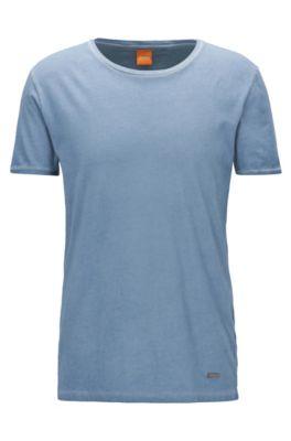 Regular-fit T-shirt van garment-dyed katoen, Lichtblauw
