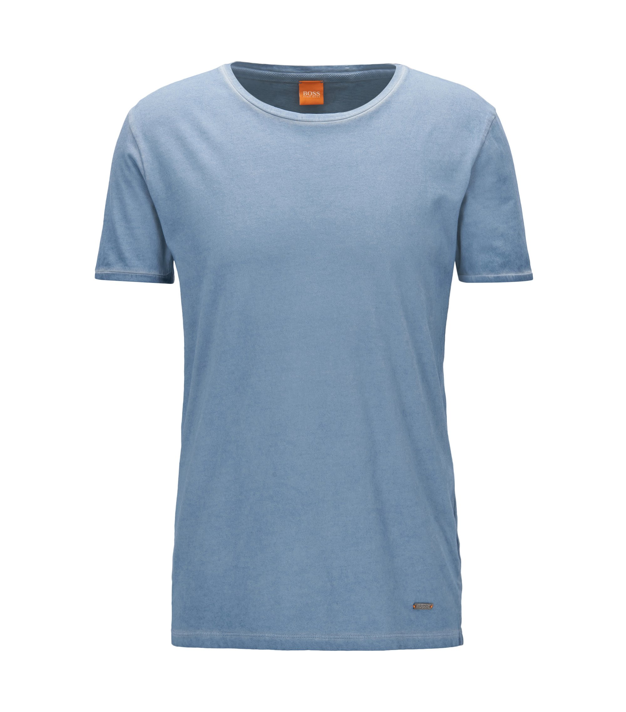 T-shirt regular fit in cotone tinto in capo, Celeste