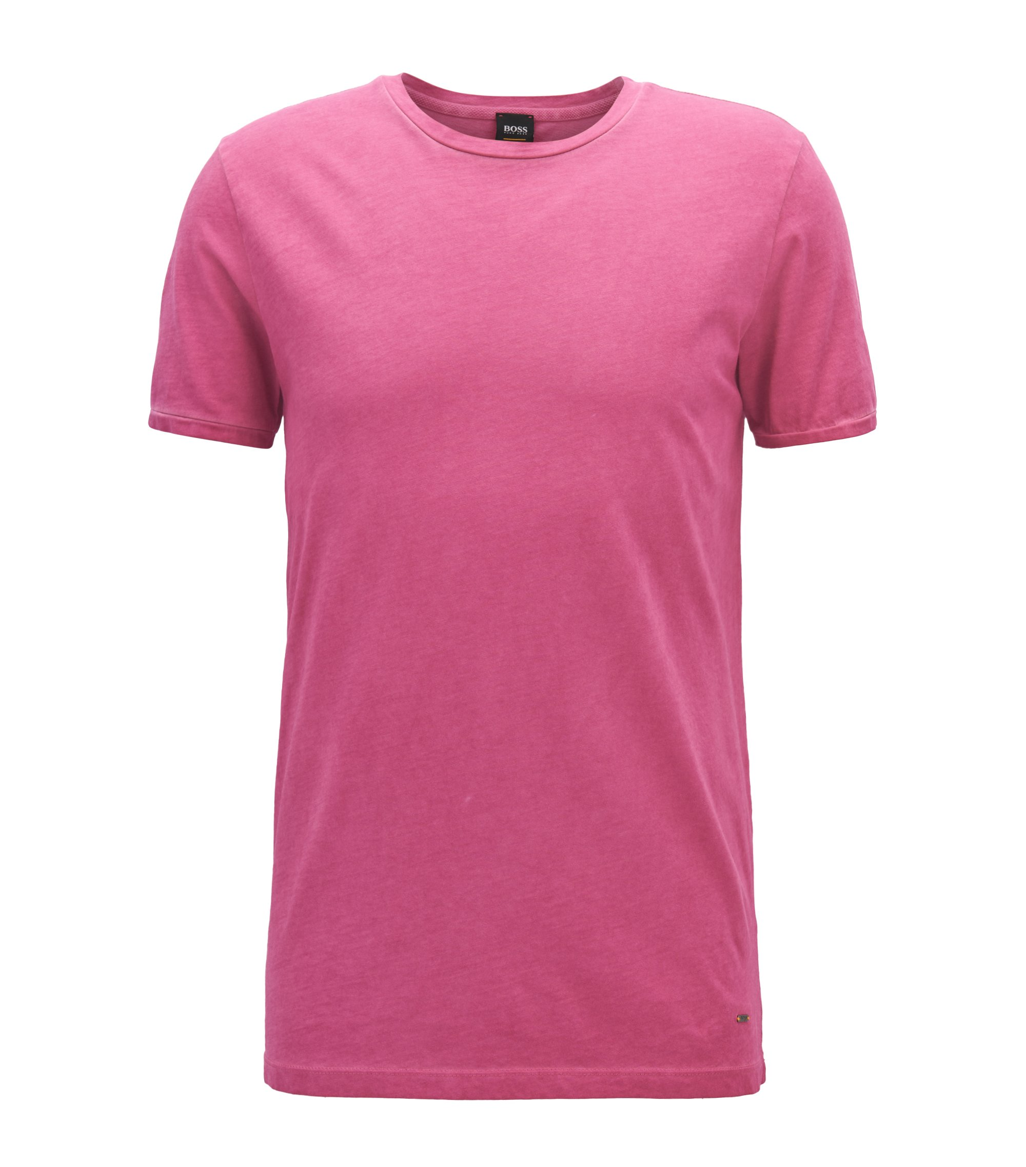 Regular-fit garment-dyed T-shirt in cotton, Purple