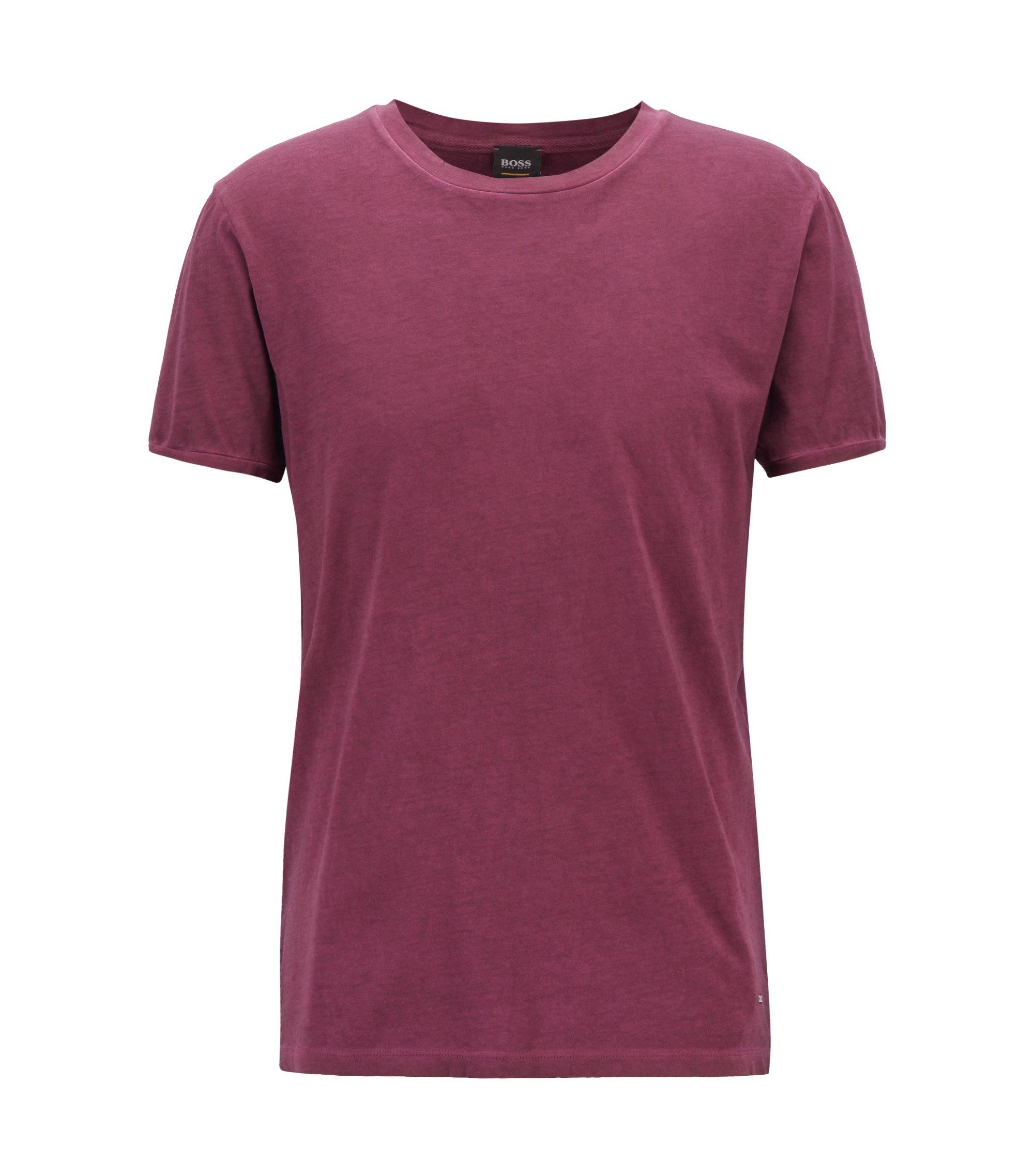 Regular-fit garment-dyed T-shirt in cotton, Light Purple