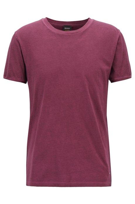 Camiseta regular fit en algodón teñido en prenda, Luz púrpura