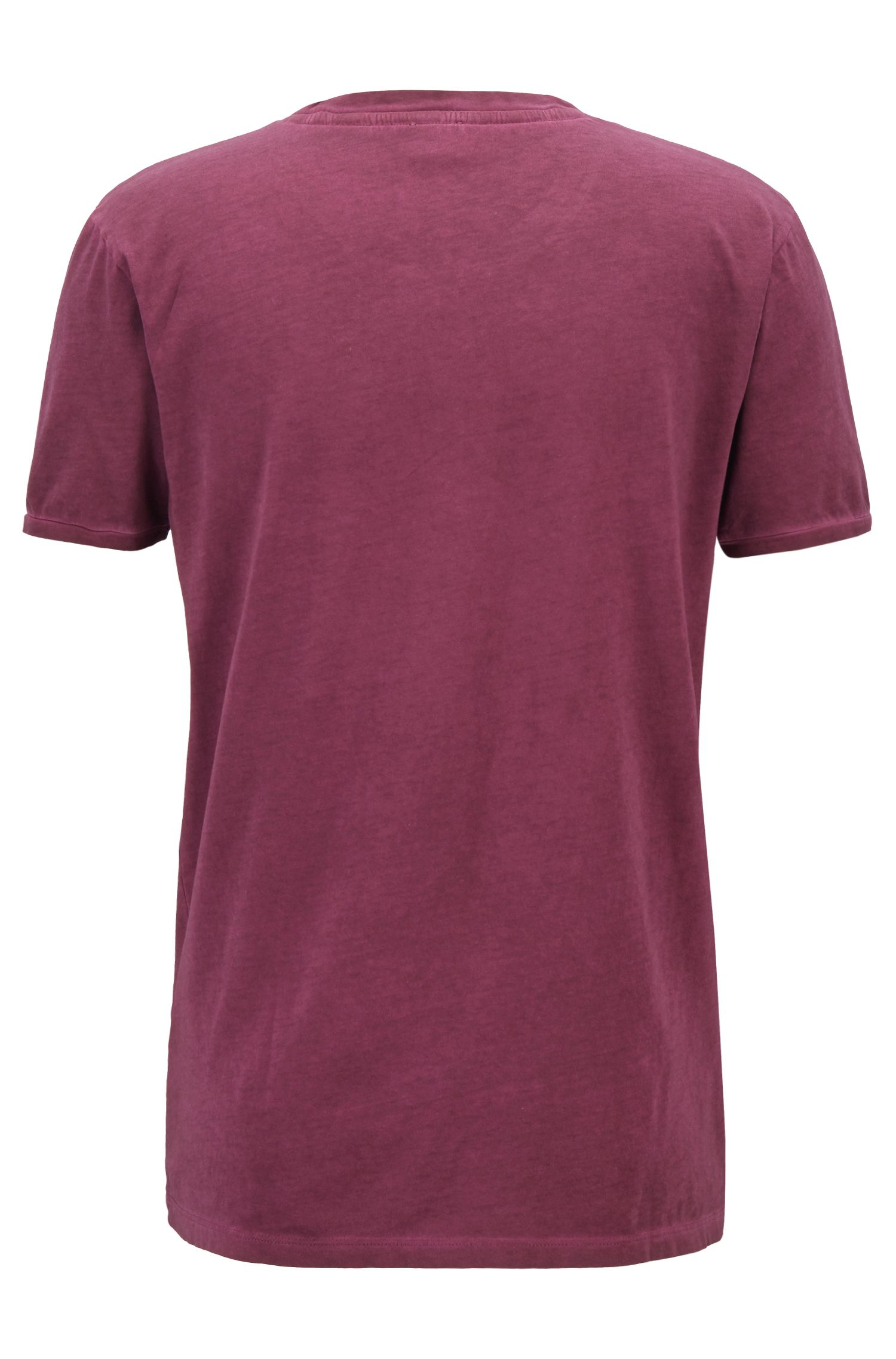 T-shirt regular fit in cotone tinto in capo, Luce viola
