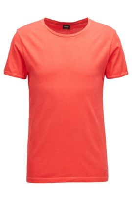 Regular-fit garment-dyed T-shirt in cotton, Red