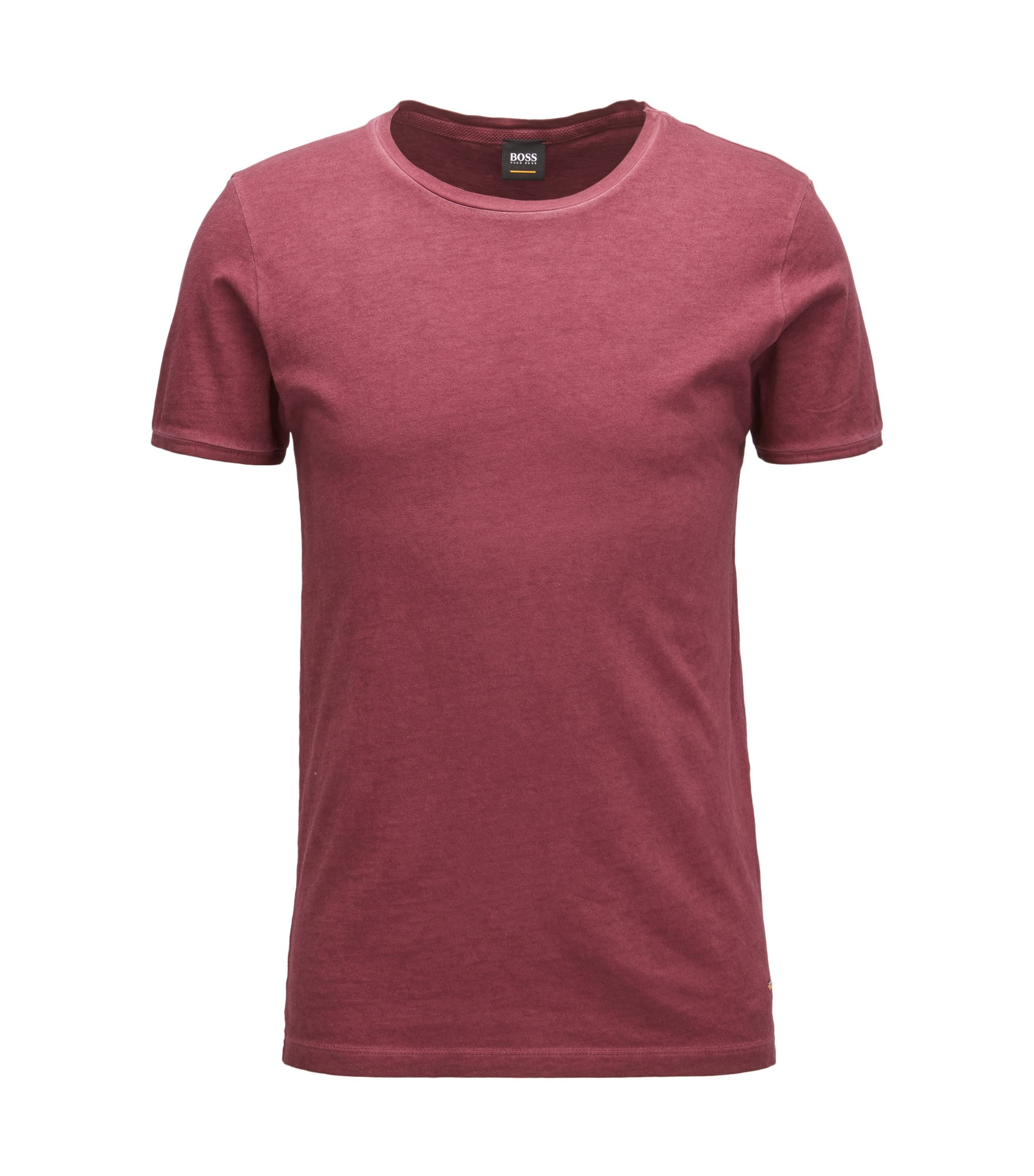 Regular-fit T-shirt van garment-dyed katoen, Donkerrood