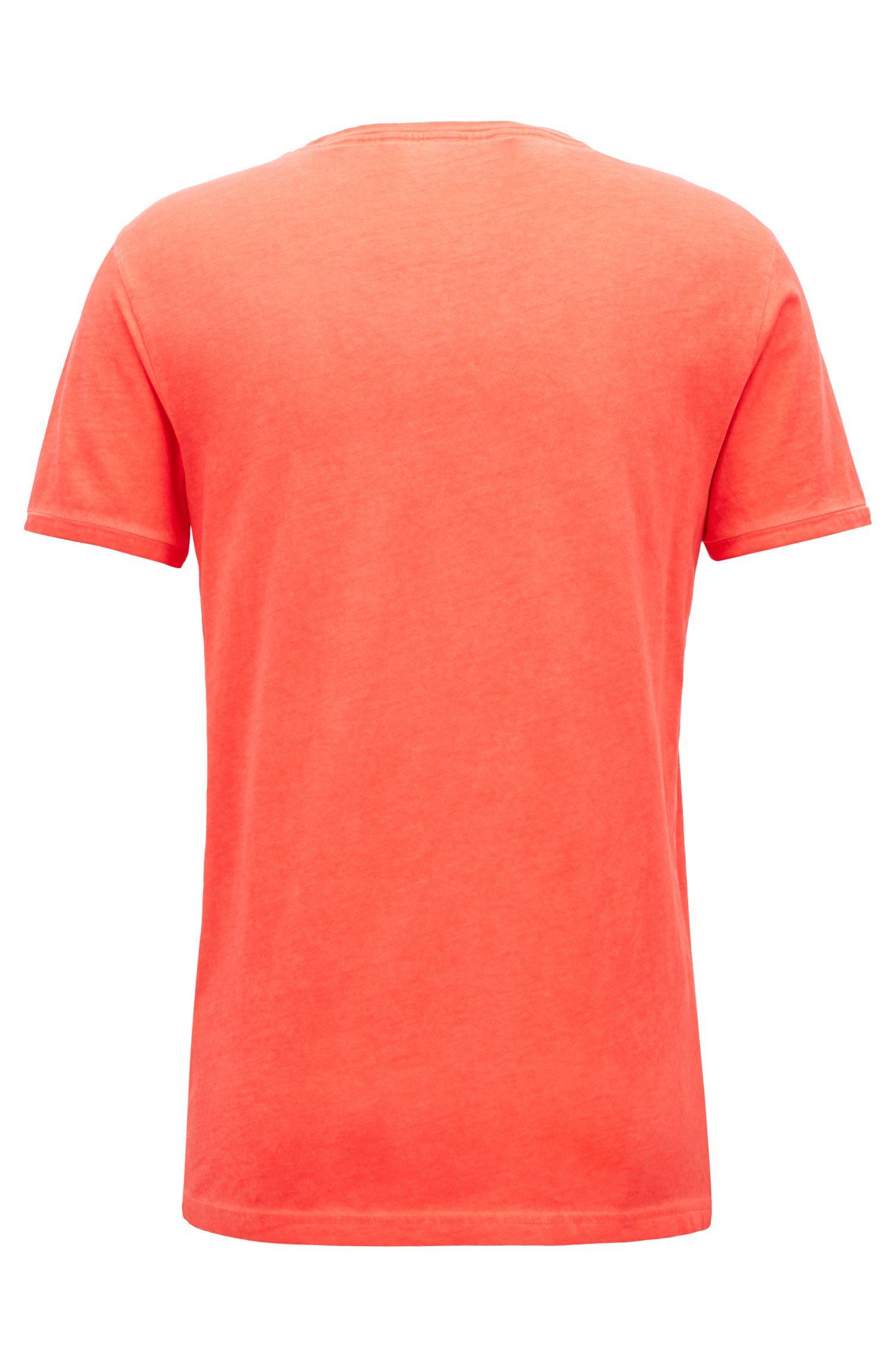 Stückgefärbtes Regular-Fit T-Shirt aus Baumwolle, Hellrot
