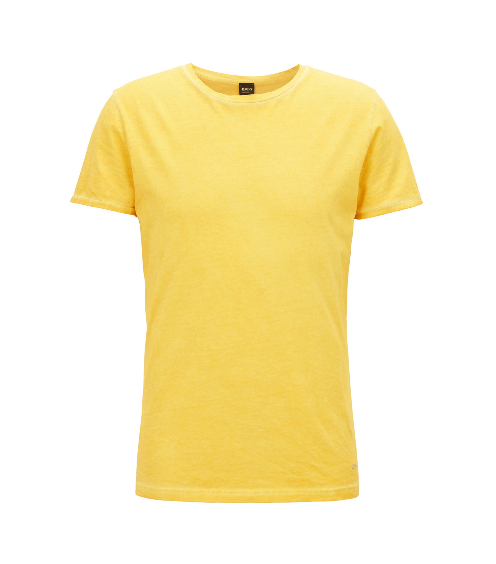 T-shirt regular fit in cotone tinto in capo, Giallo