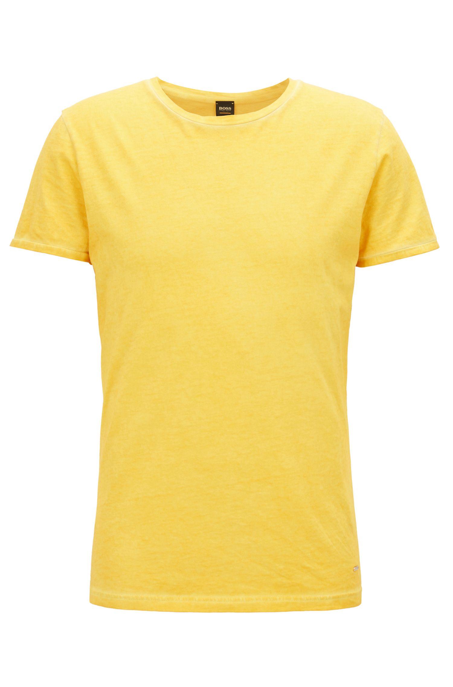 T-shirt Regular Fit en coton teint en pièce, Jaune