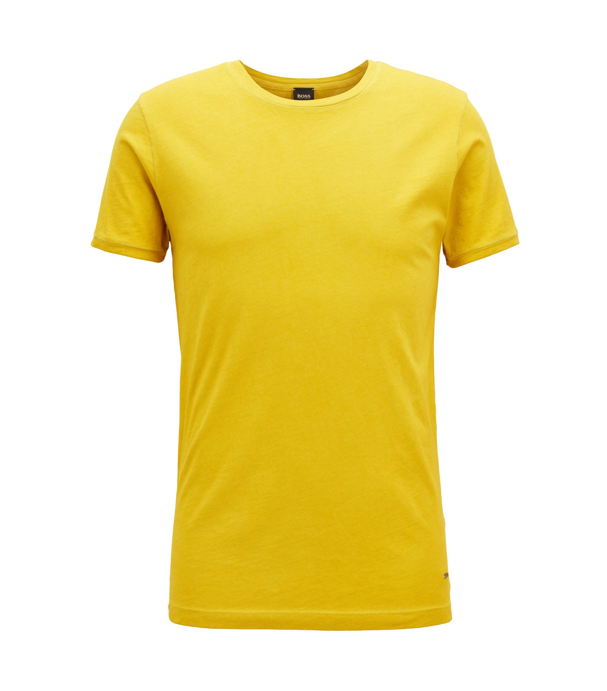 T-shirt Regular Fit en coton teint en pièce, Jaune