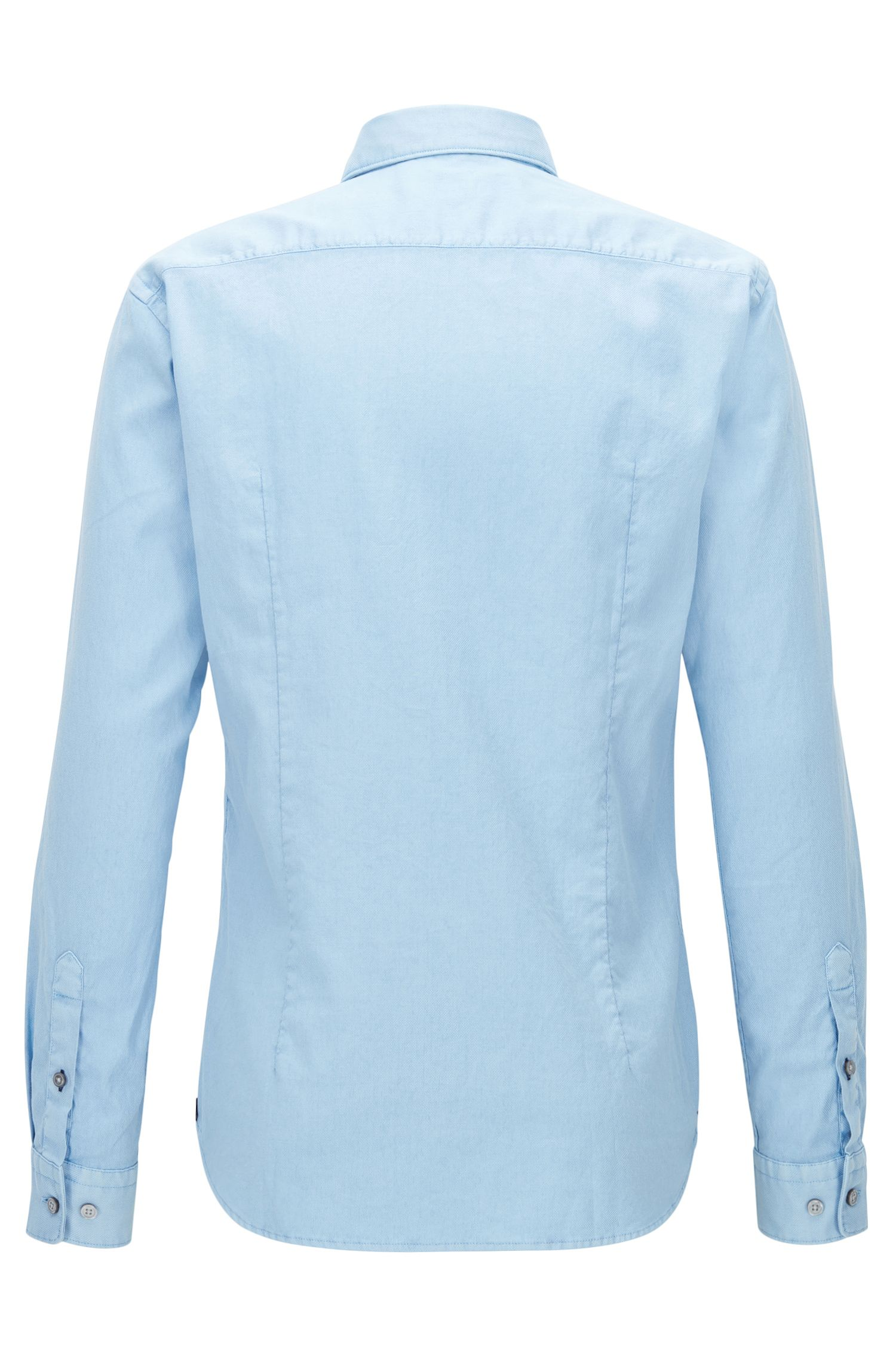 Camisa slim fit de algodón elástico con textura teñido en prenda