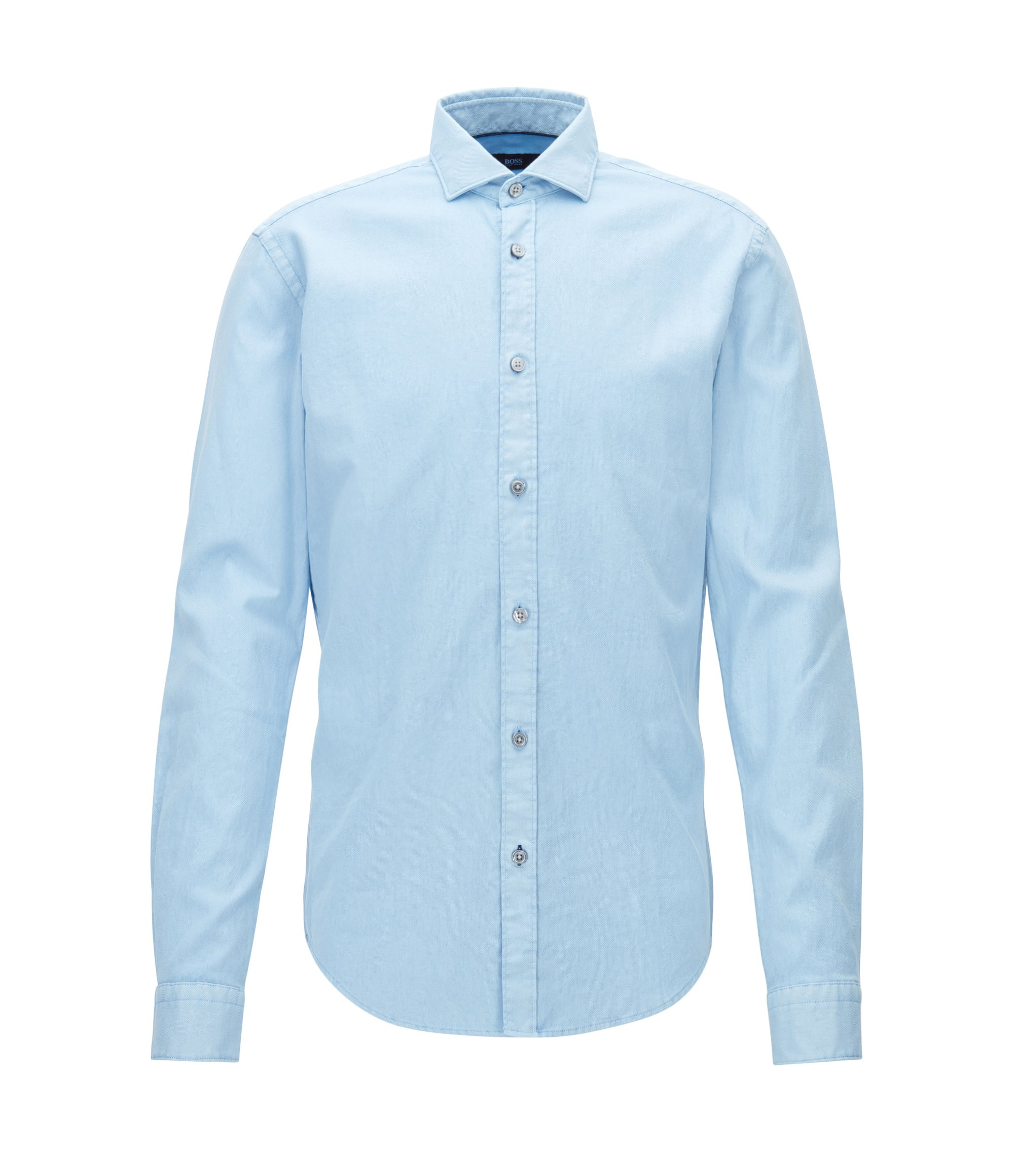 Slim-fit garment-dyed shirt in structured stretch cotton, Light Blue