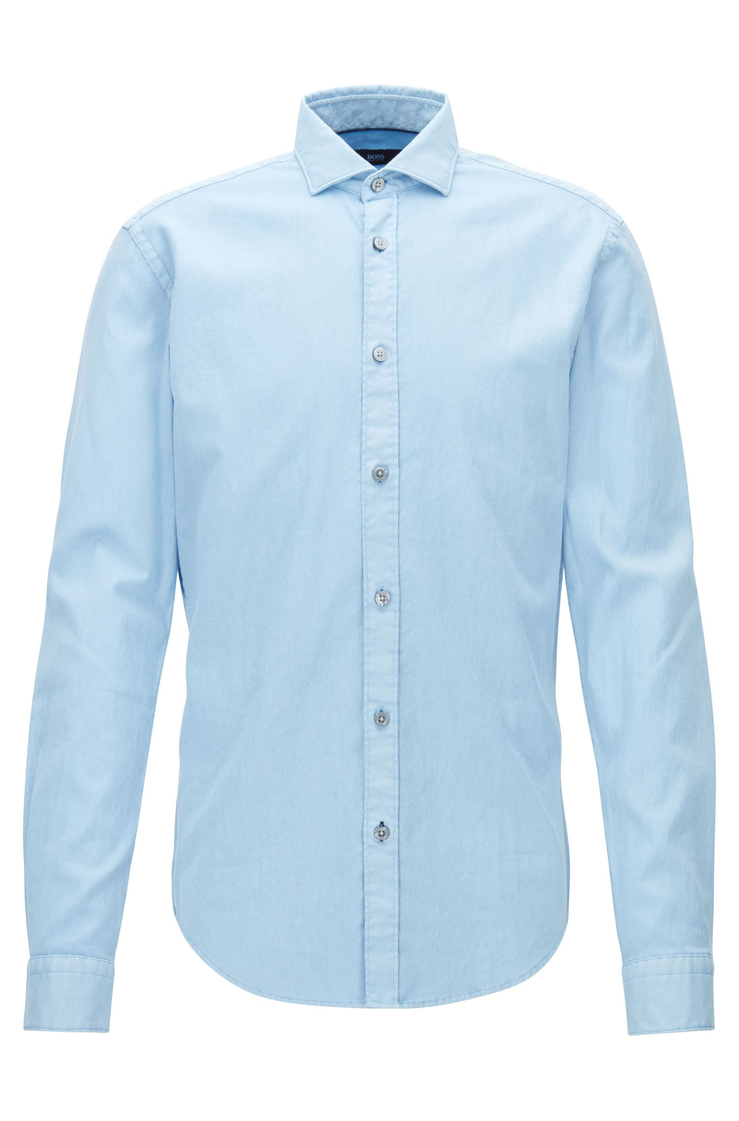 Slim-fit garment-dyed shirt in structured stretch cotton
