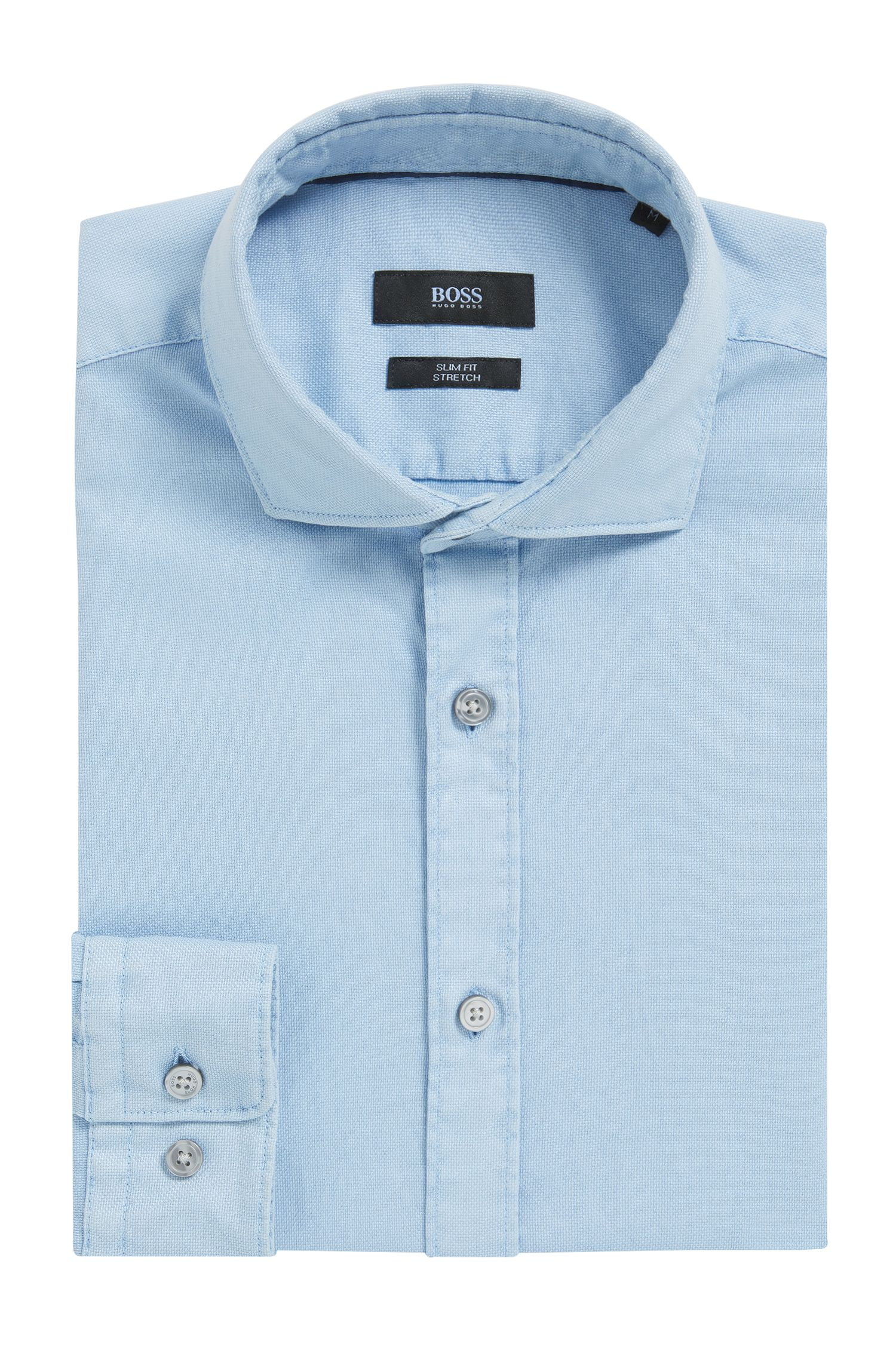 Stückgefärbtes Slim-Fit Hemd aus strukturierter Stretch-Baumwolle