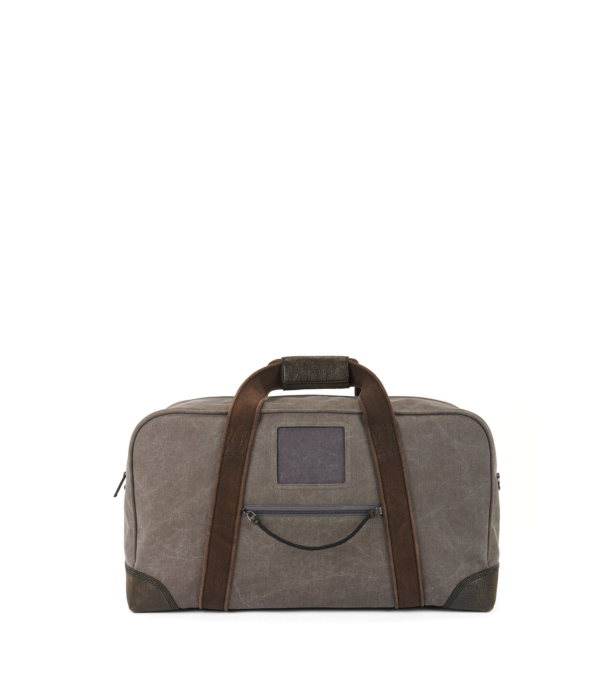 Cotton-canvas holdall with leather trims, Anthracite