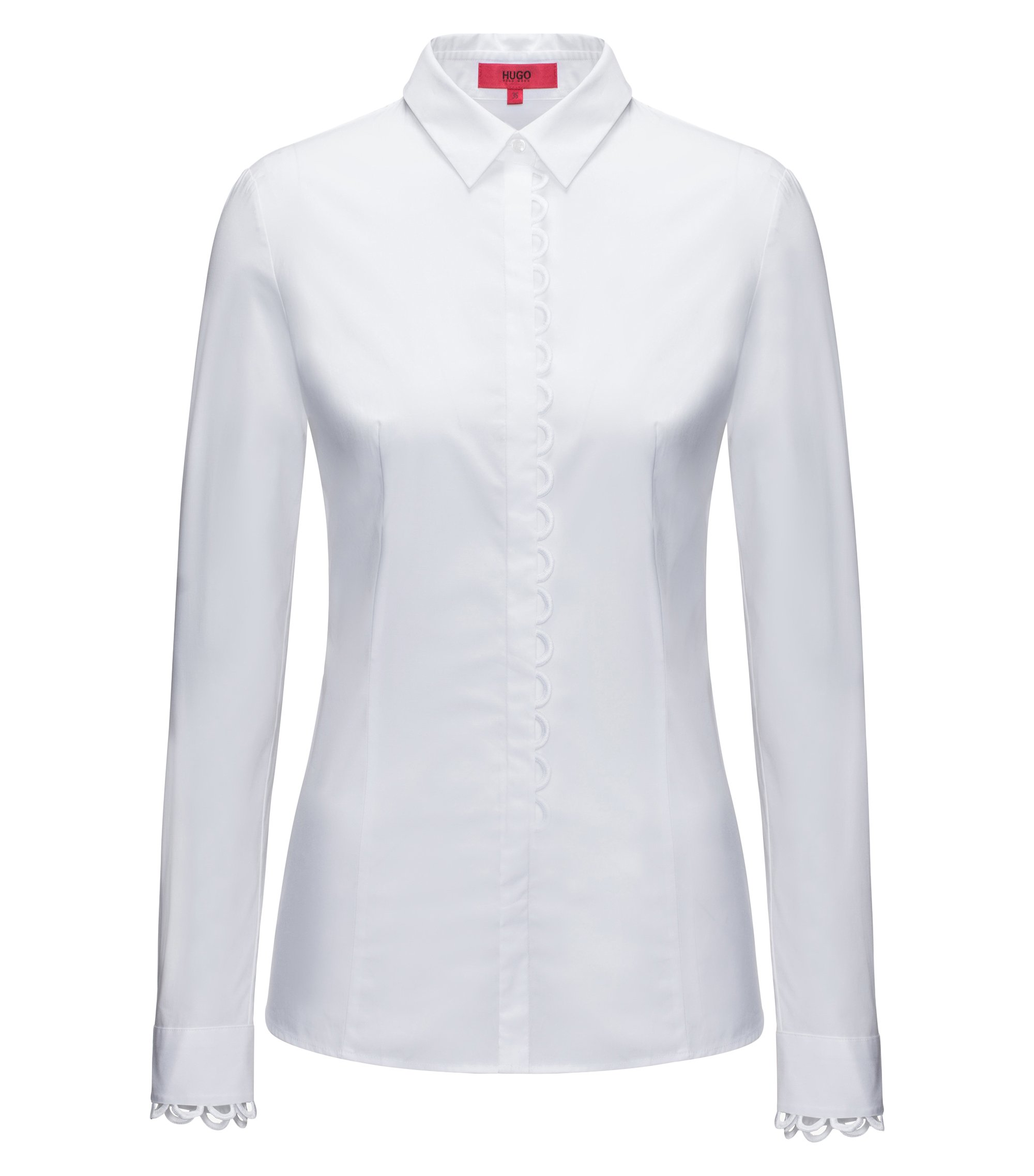 Slim-fit stretch-cotton blouse with scalloped details, White