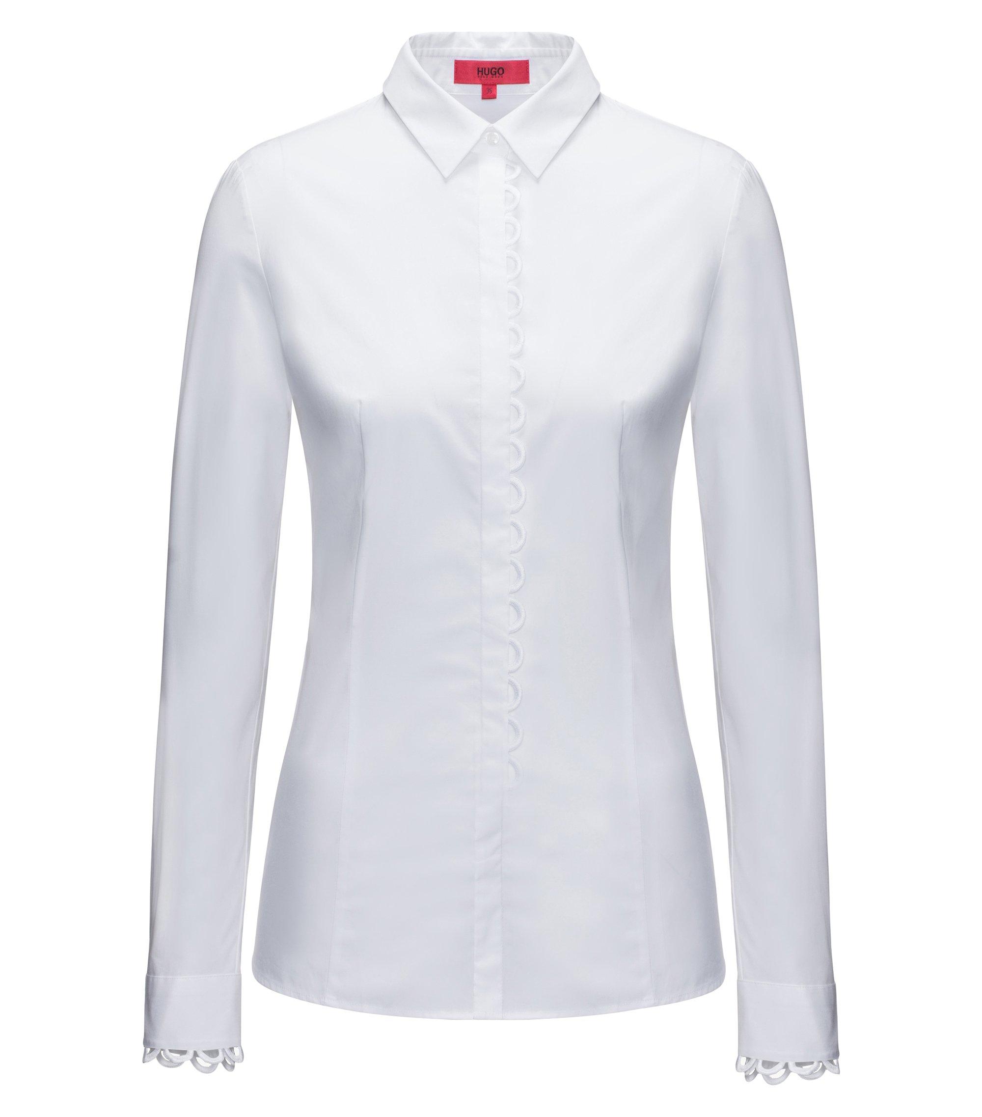 Chemisier Slim Fit en coton stretch avec détails festonnés, Blanc