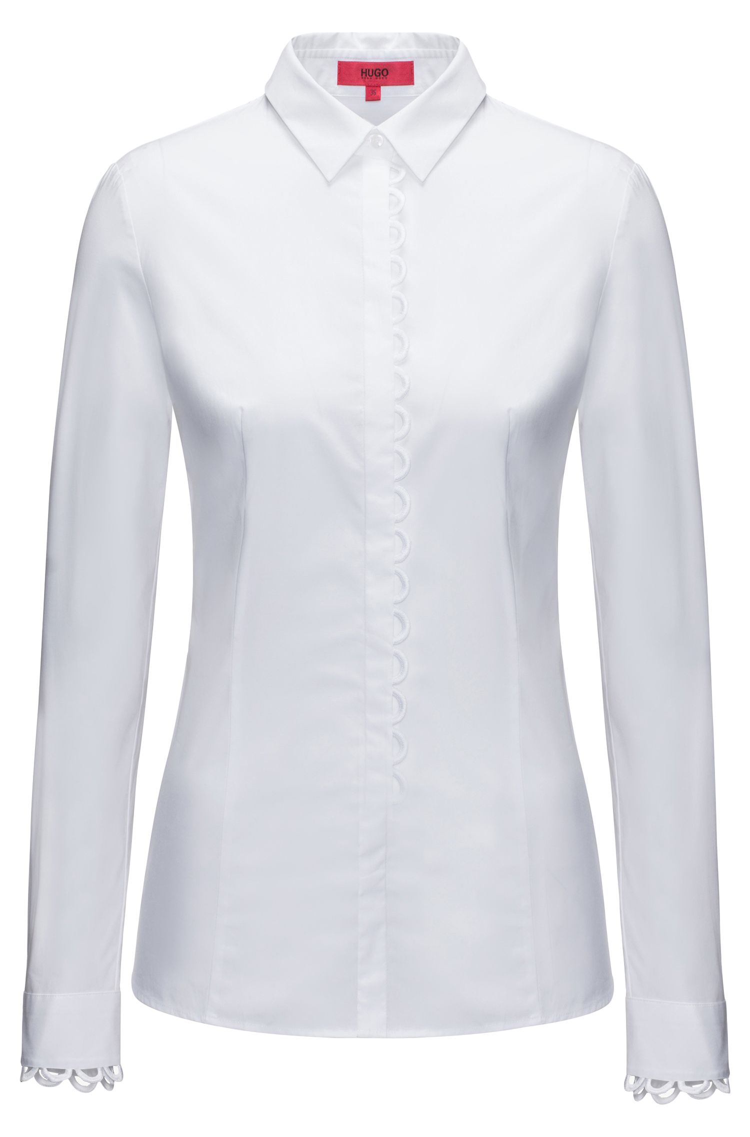 Slim-fit stretch-cotton blouse with scalloped details
