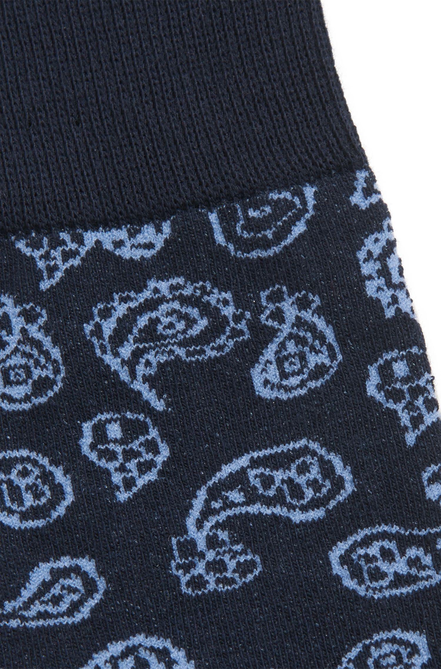 Chaussettes en coton peigné mélangé stretch à motif cachemire