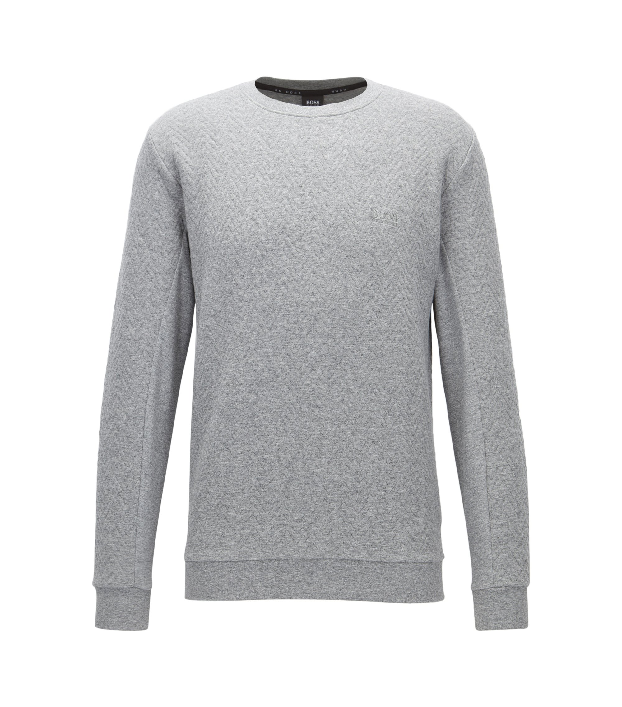Herringbone-quilted crew-neck sweatshirt in cotton, Grey