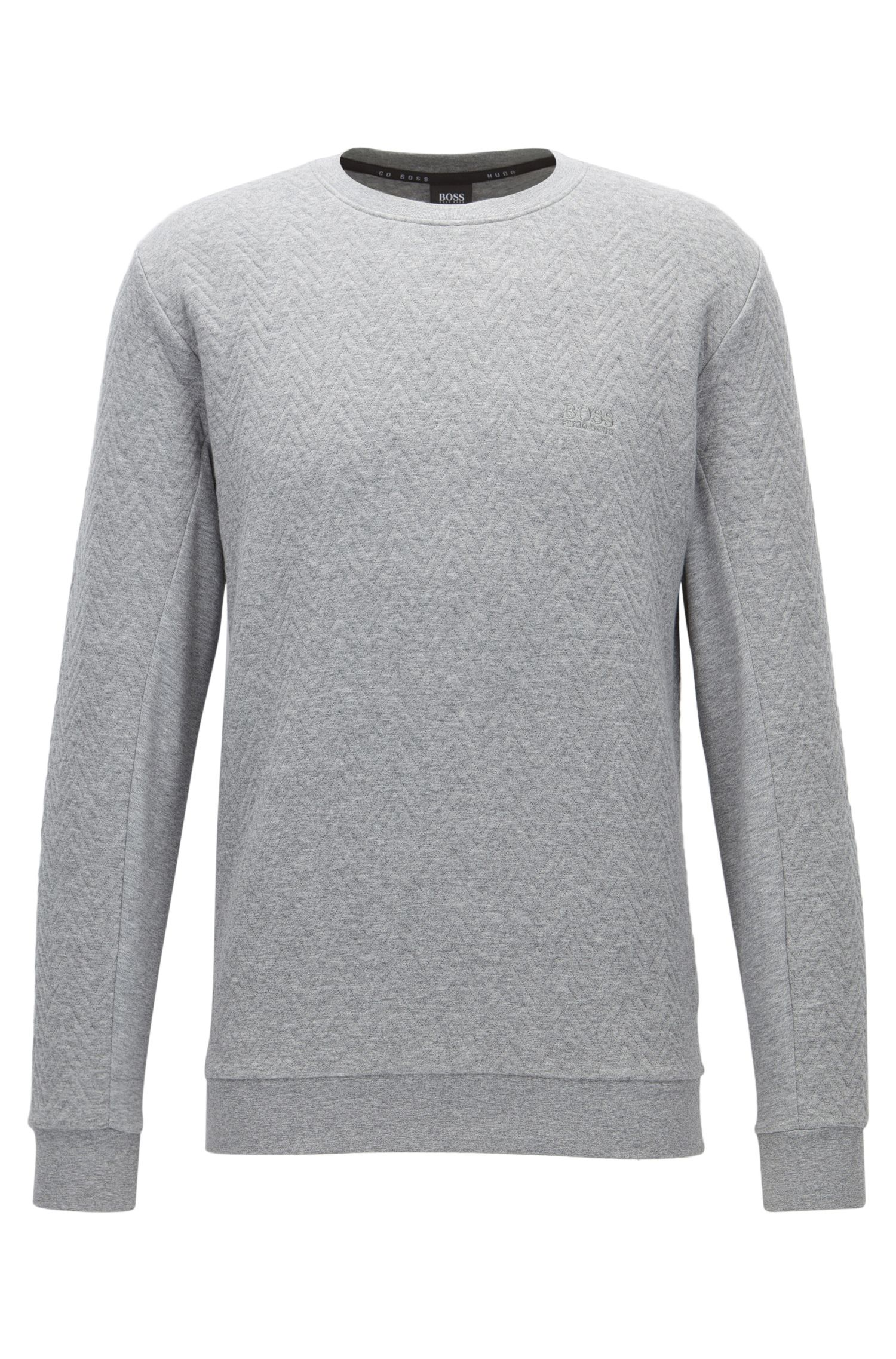 Herringbone-quilted crew-neck sweatshirt in cotton