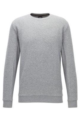 Herringbone-quilted crew-neck sweatshirt in cotton, Grey