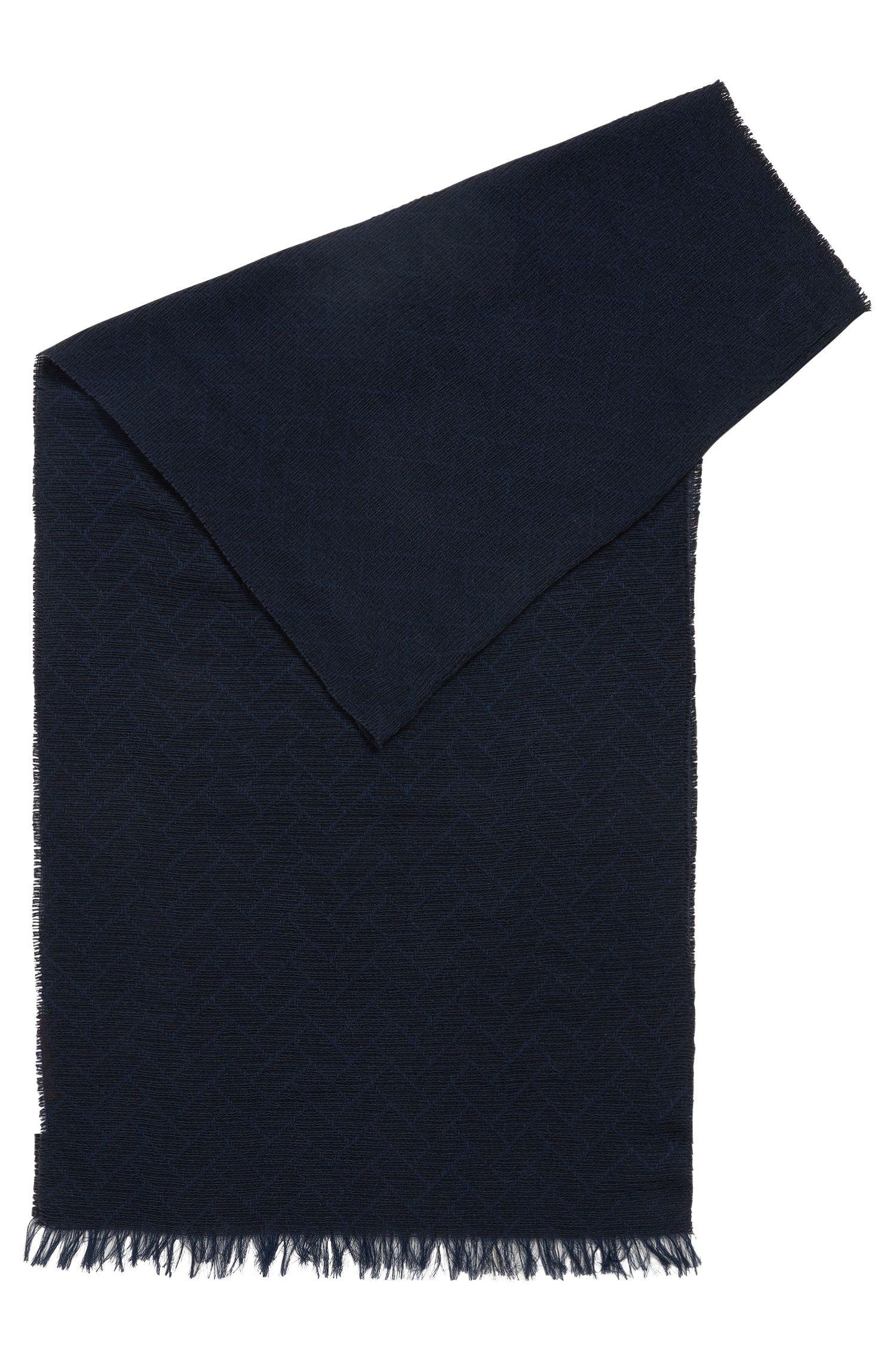 Sjaal in een jacquard van zachte katoen, Donkerblauw