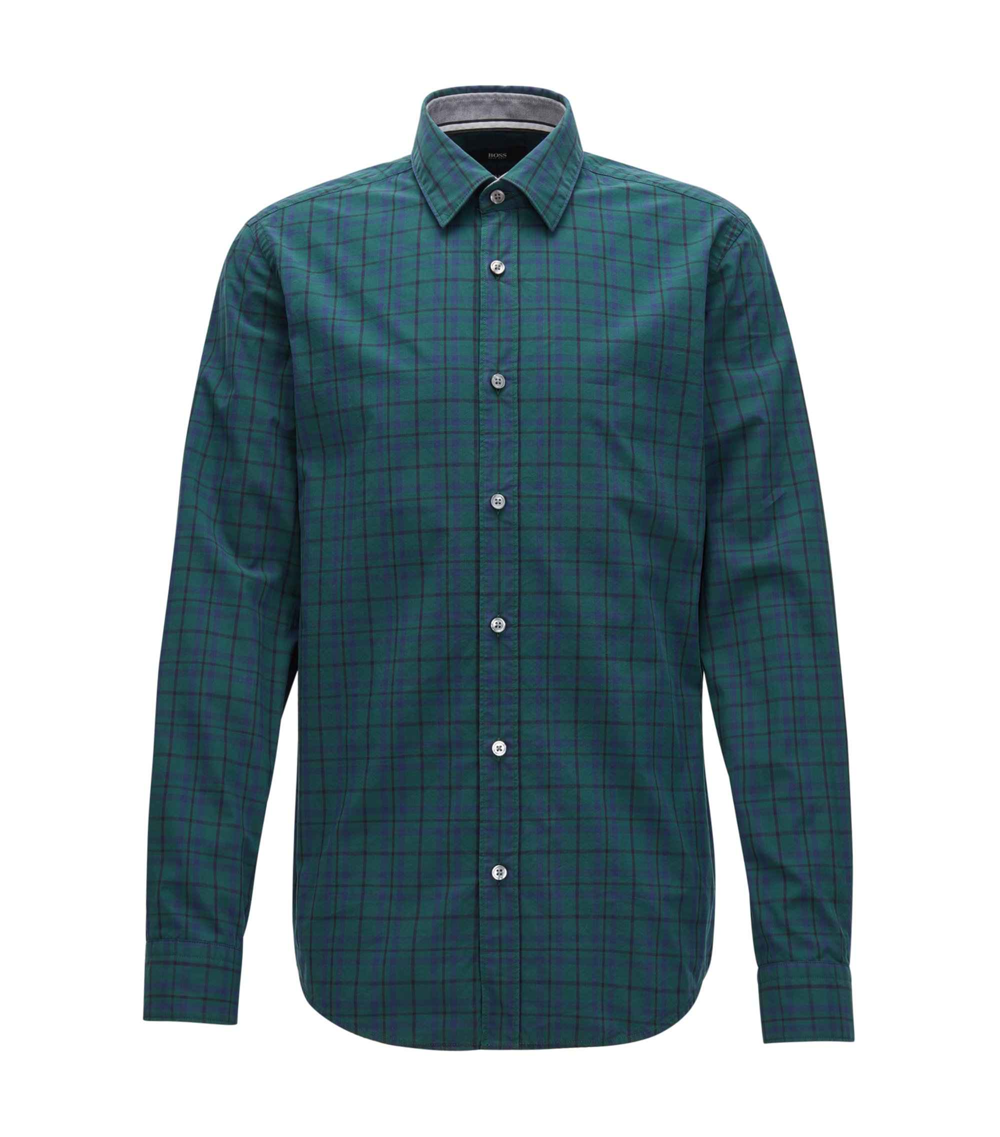 Camicia a quadri slim fit in puro cotone Oxford, Verde scuro