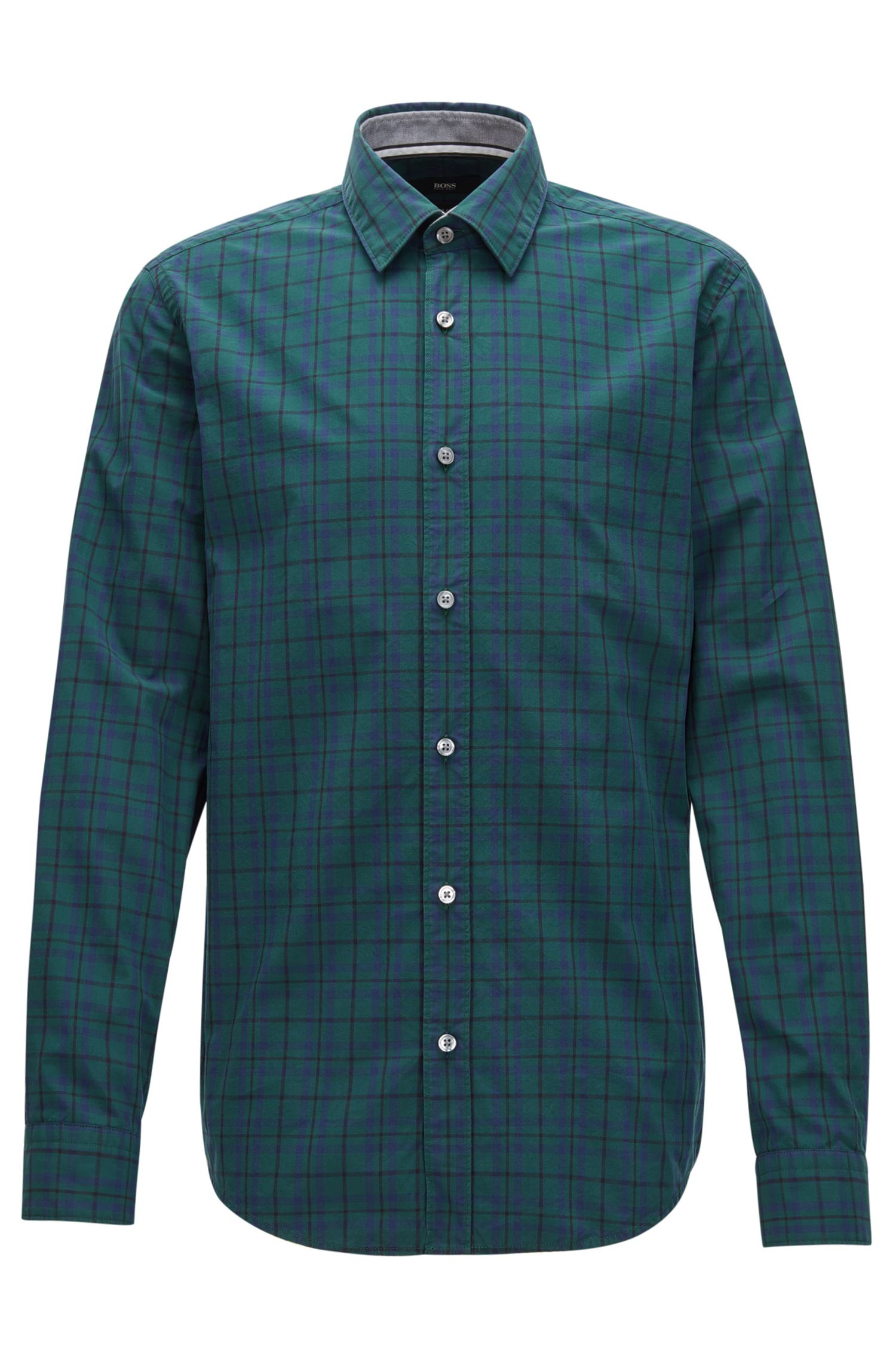Slim-fit checked shirt in pure Oxford cotton