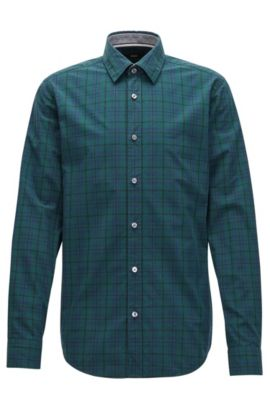 Slim-fit checked shirt in pure Oxford cotton, Dark Green