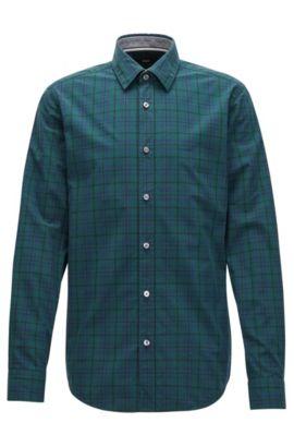 Camisa slim fit a cuadros en puro algodón Oxford, Verde oscuro