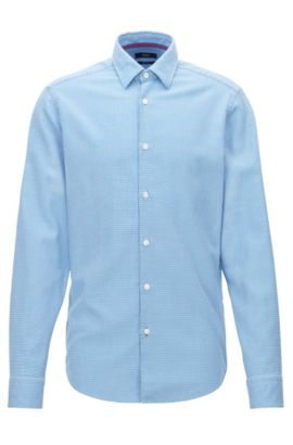 Chemise Regular Fit en coton microstructuré, Bleu