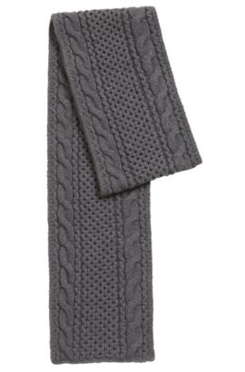 Cable-knit scarf in a cashmere blend, Grey