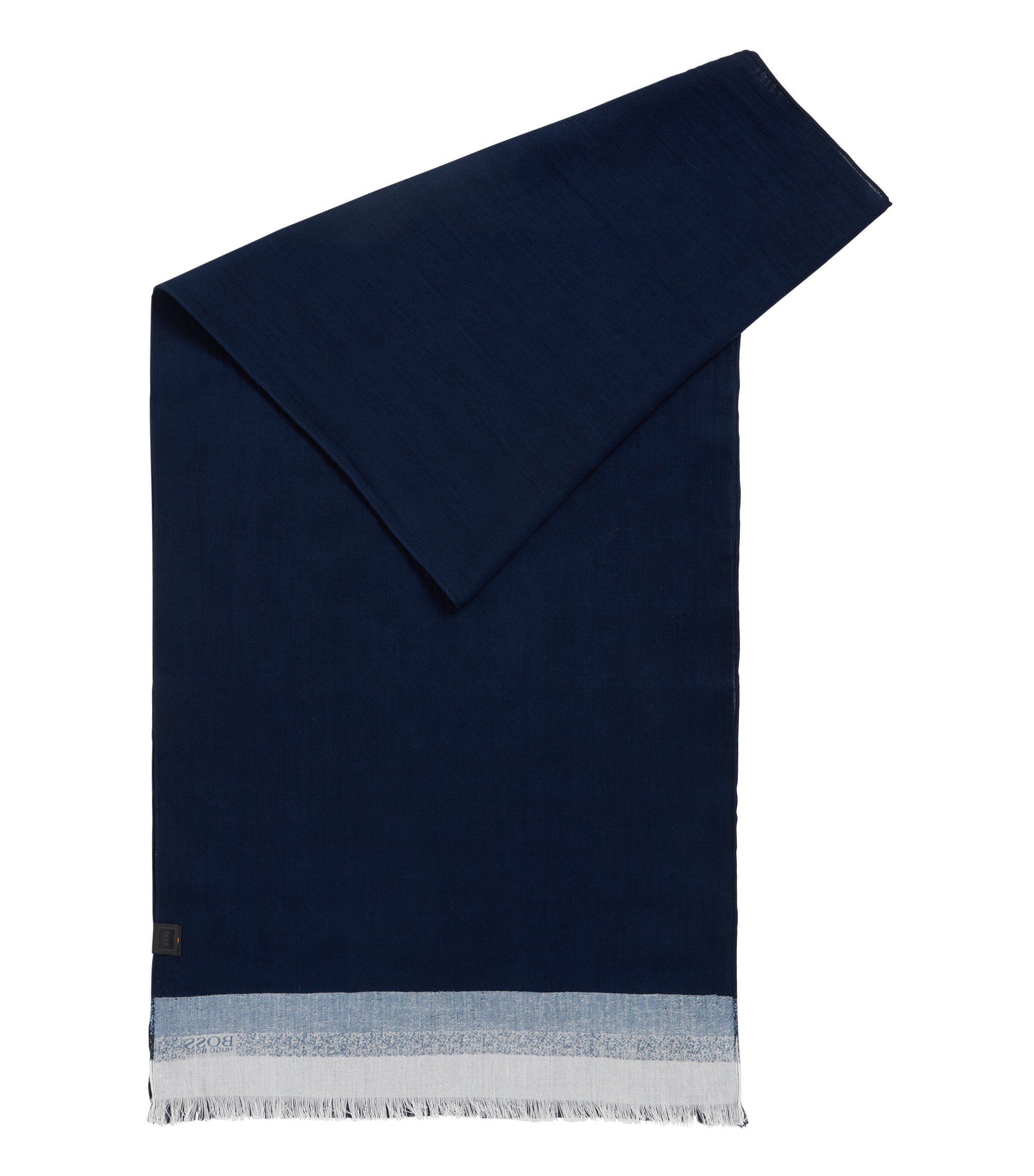 Cotton scarf with block stripes, Dark Blue