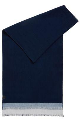 Cotton scarf with block stripes, Dark Blue