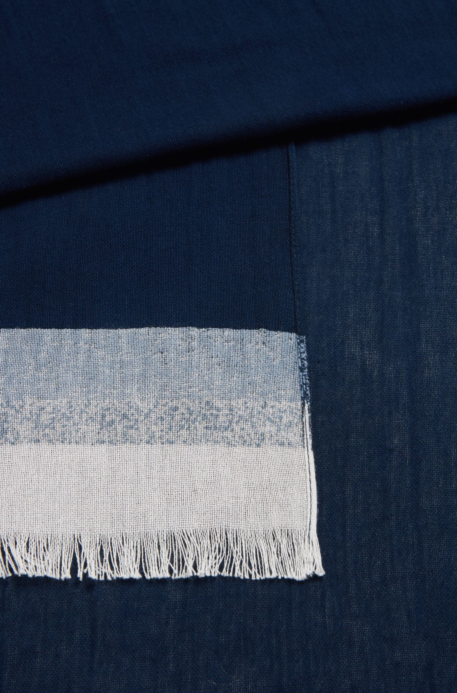 Cotton scarf with block stripes