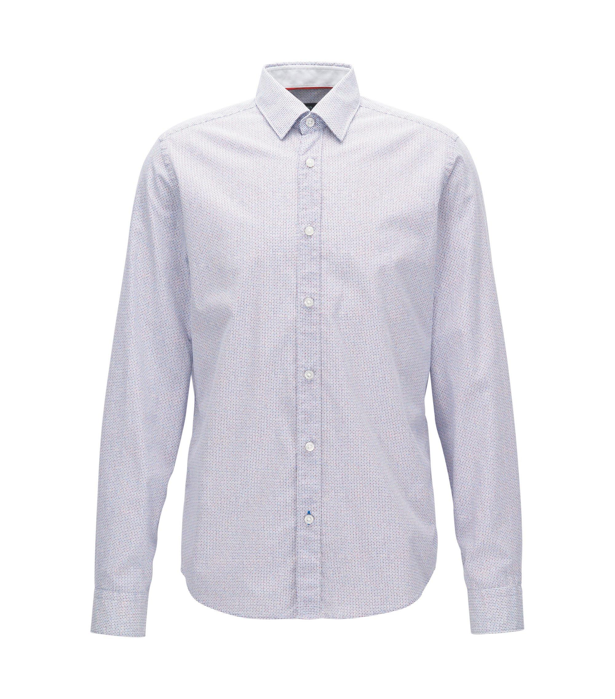 Fein bedrucktes Regular-Fit Hemd aus Baumwolle, Blau