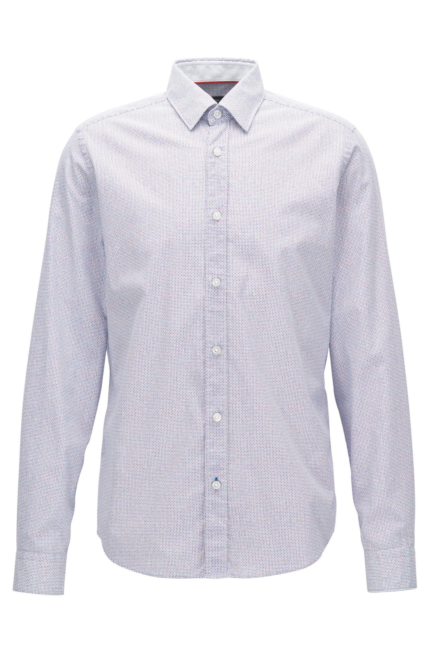 Fein bedrucktes Regular-Fit Hemd aus Baumwolle