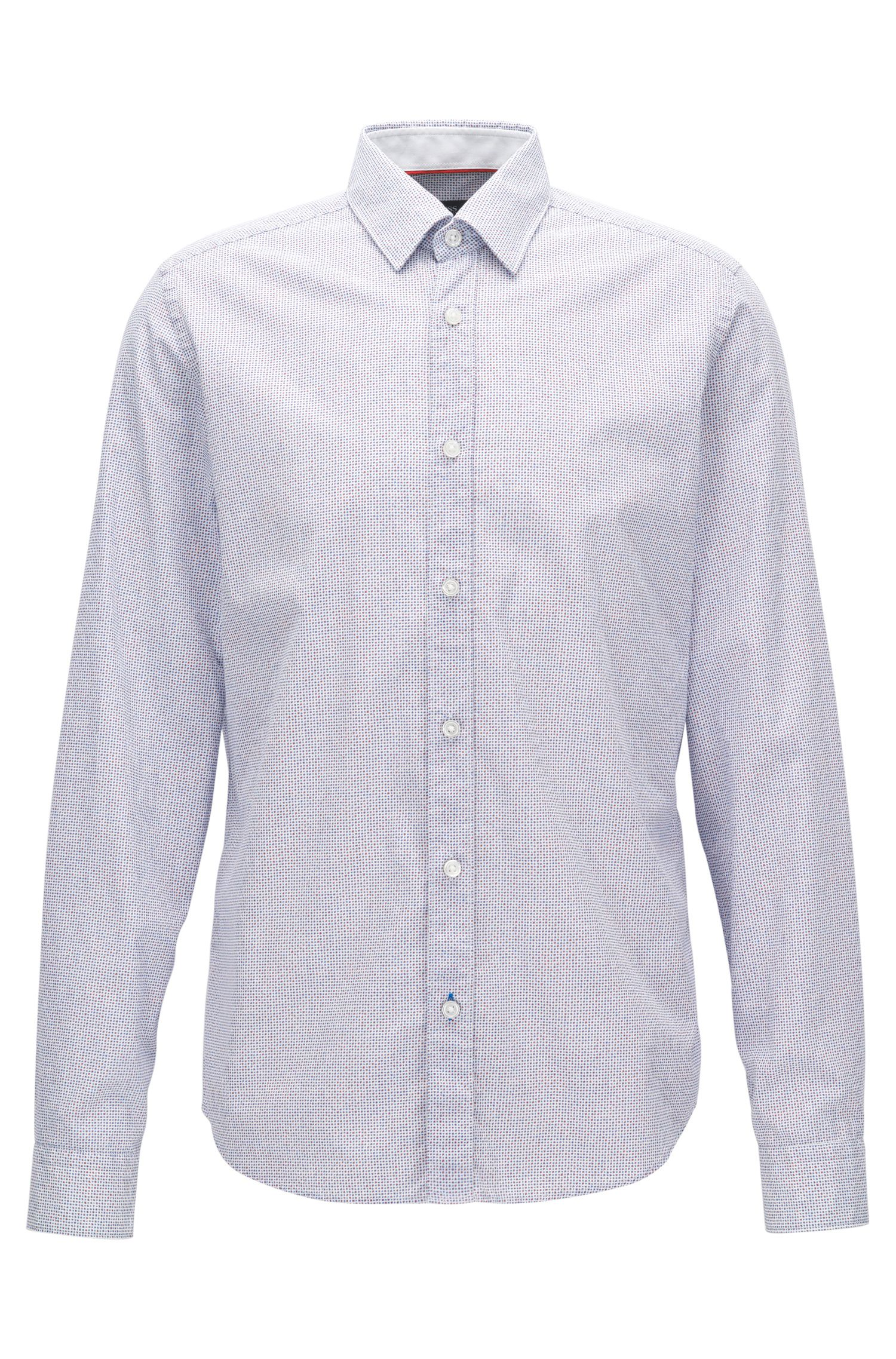 Camicia regular fit in cotone con micro-motivo stampato