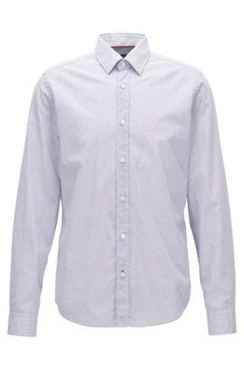 Camisa regular fit en algodón microestampado, Azul