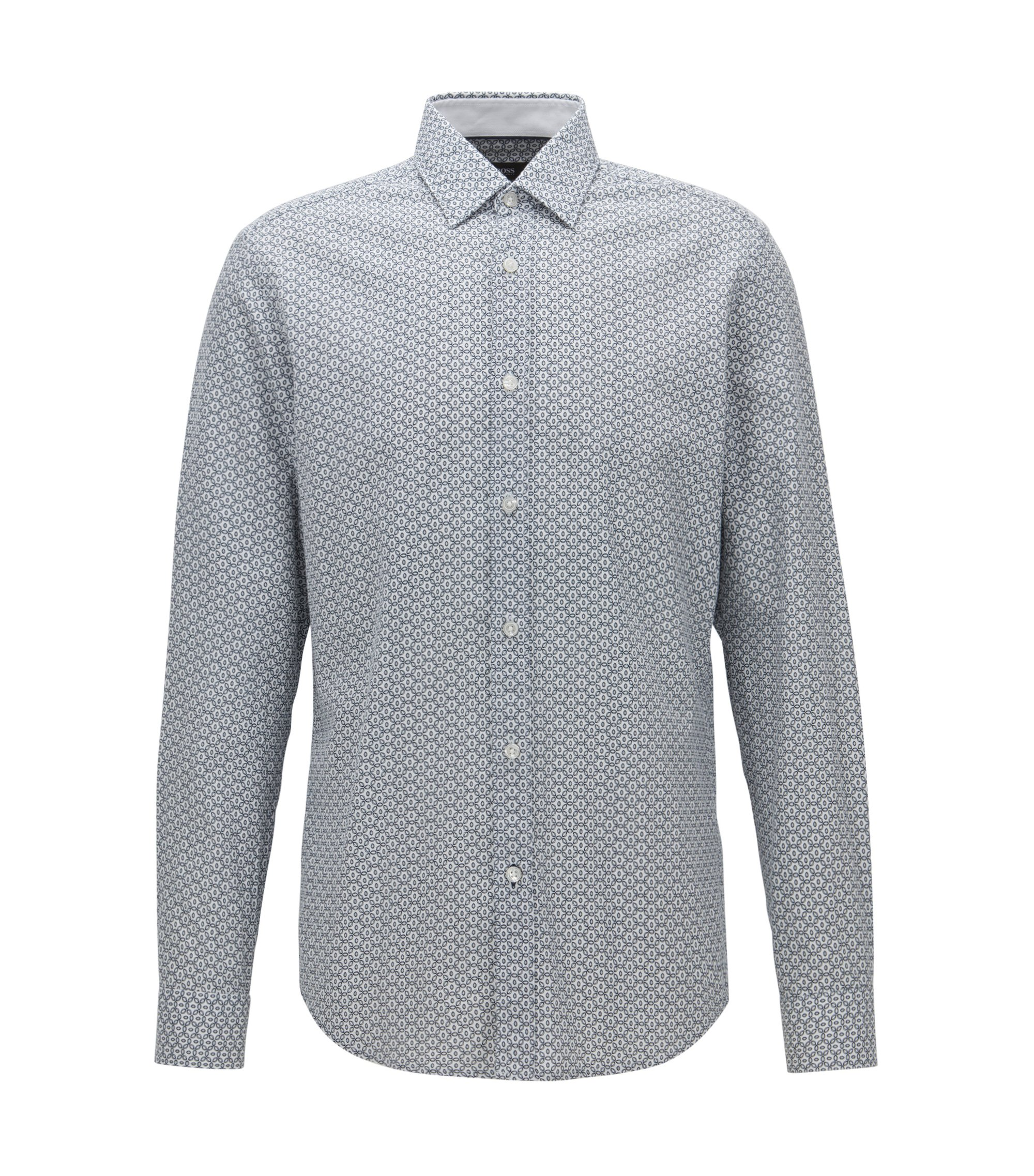 Camisa de algodón estampado y corte regular fit, Natural