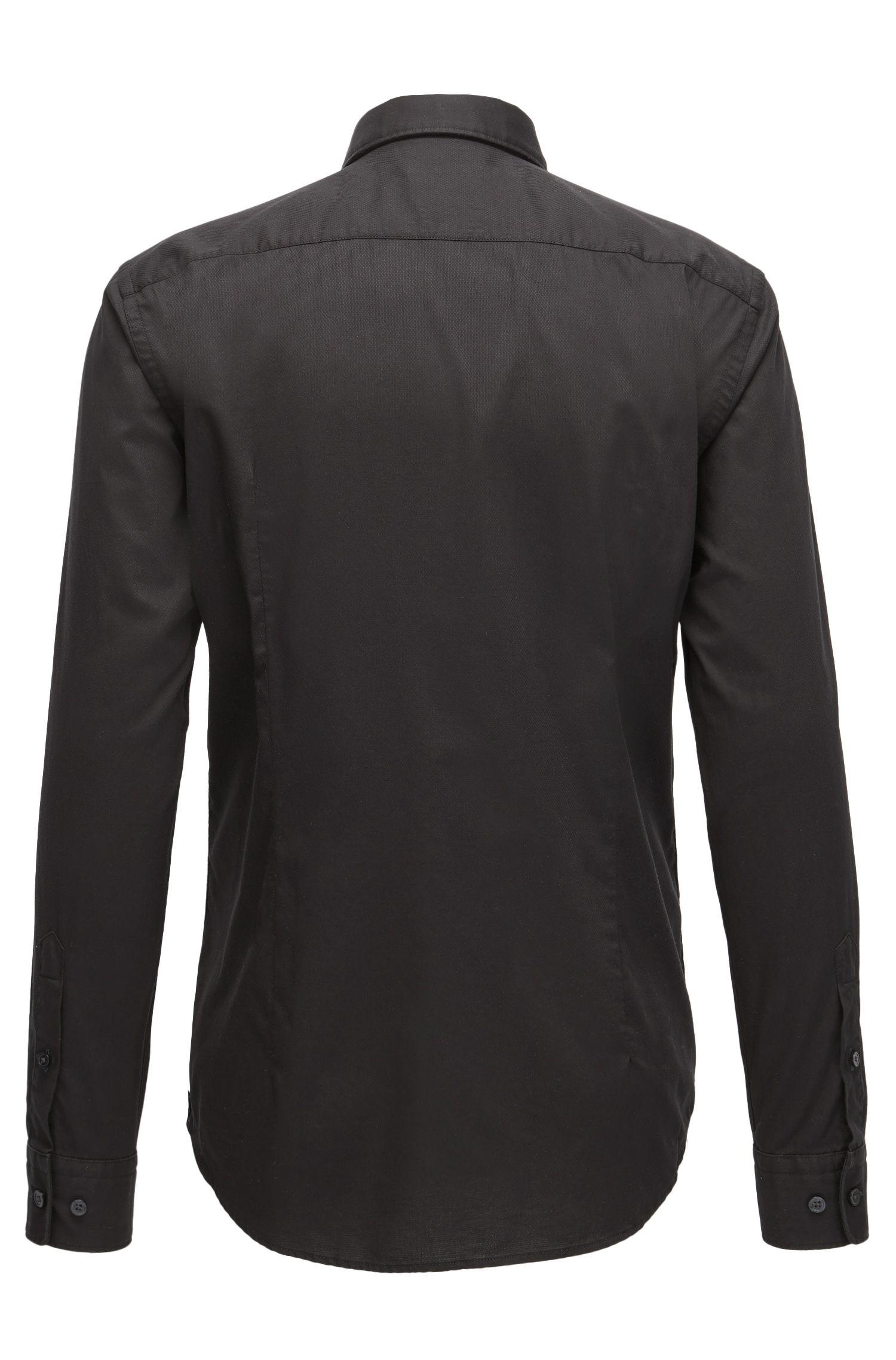 Chemise Slim Fit en coton façonné à patte de boutonnage revêtue de satin