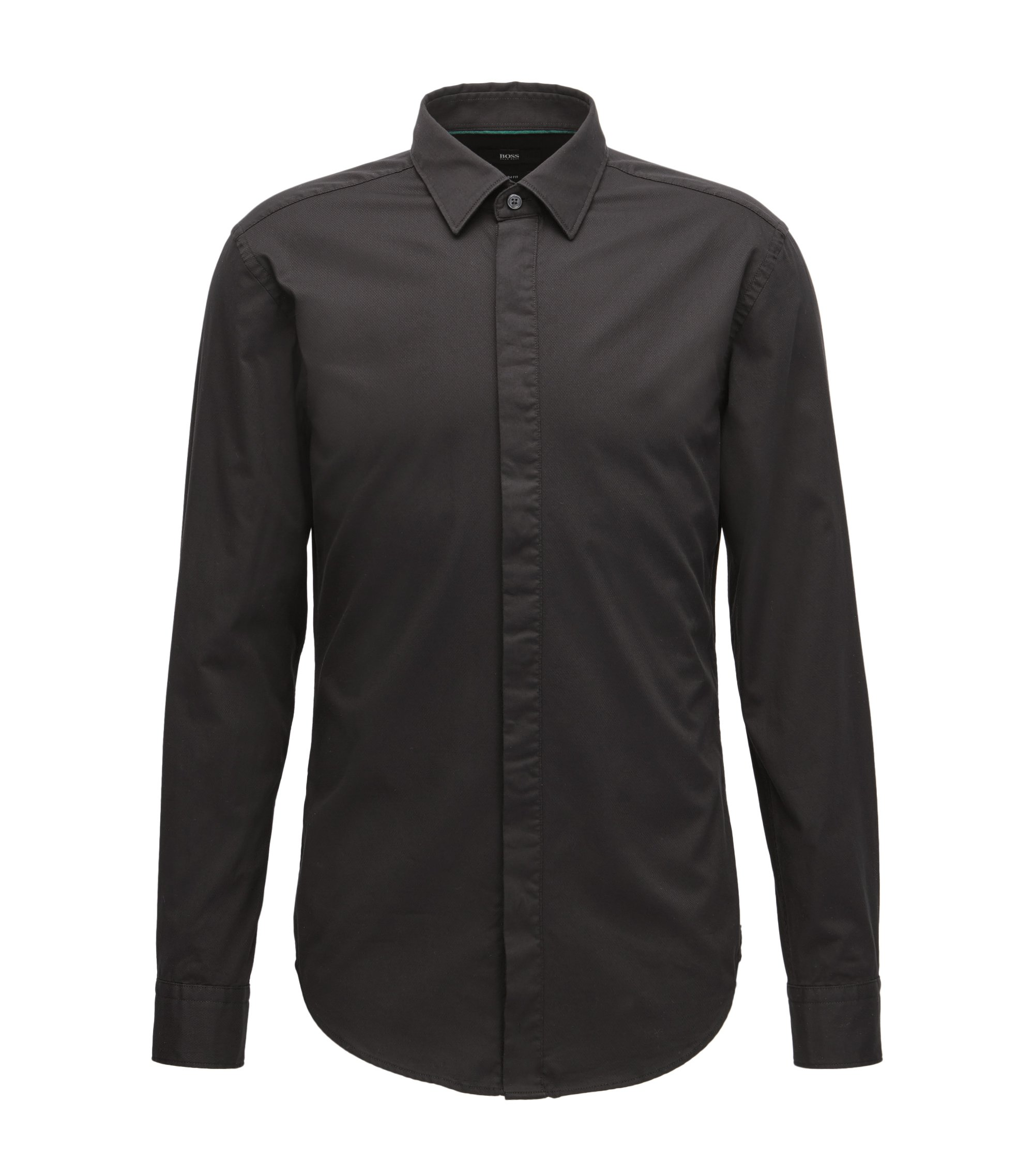 Slim-fit cotton dobby shirt with a satin covered placket, Black