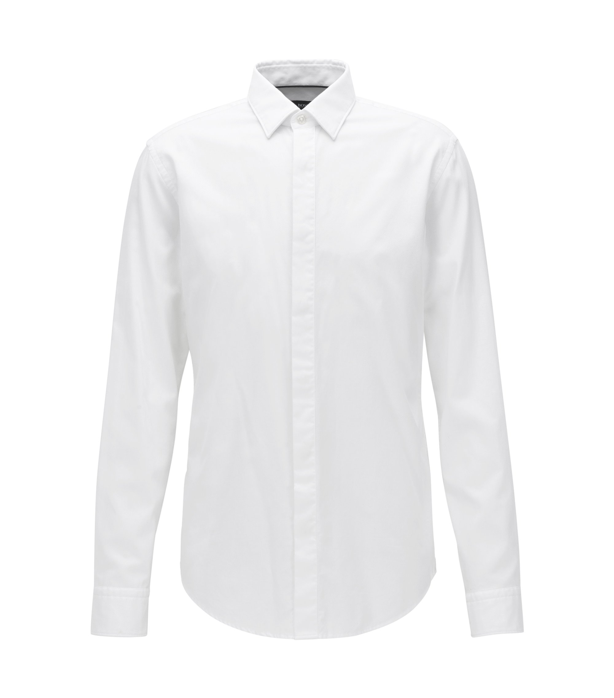 Slim-fit cotton dobby shirt with a satin covered placket, White