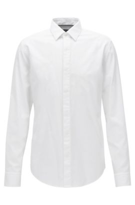 Slim-fit cotton dobby shirt with a satin covered placket, Blanc