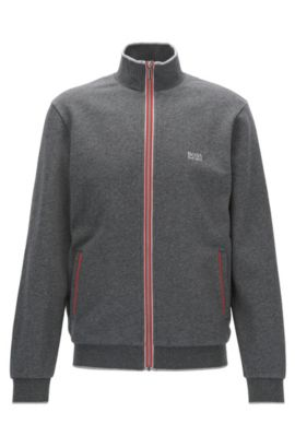 Regular-fit French terry jacket with tape-detail zip, Grey