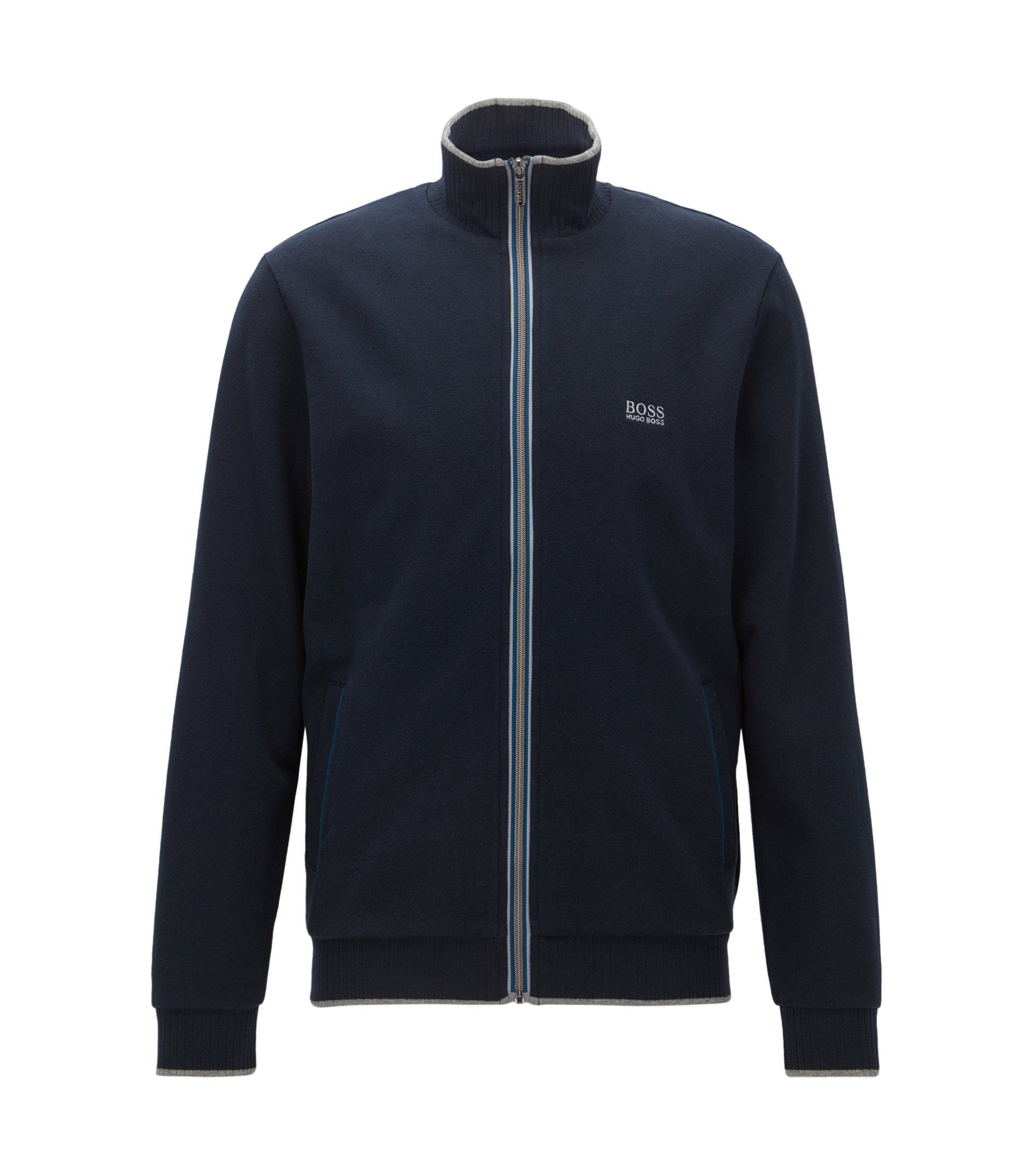 Giacca regular fit in french terry con zip effetto nastro, Blu scuro