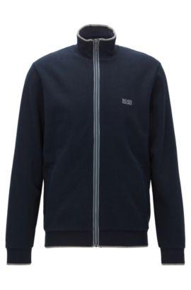 Regular-Fit Jacke aus Baumwoll-Mix mit Detail am Reißverschluss, Dunkelblau