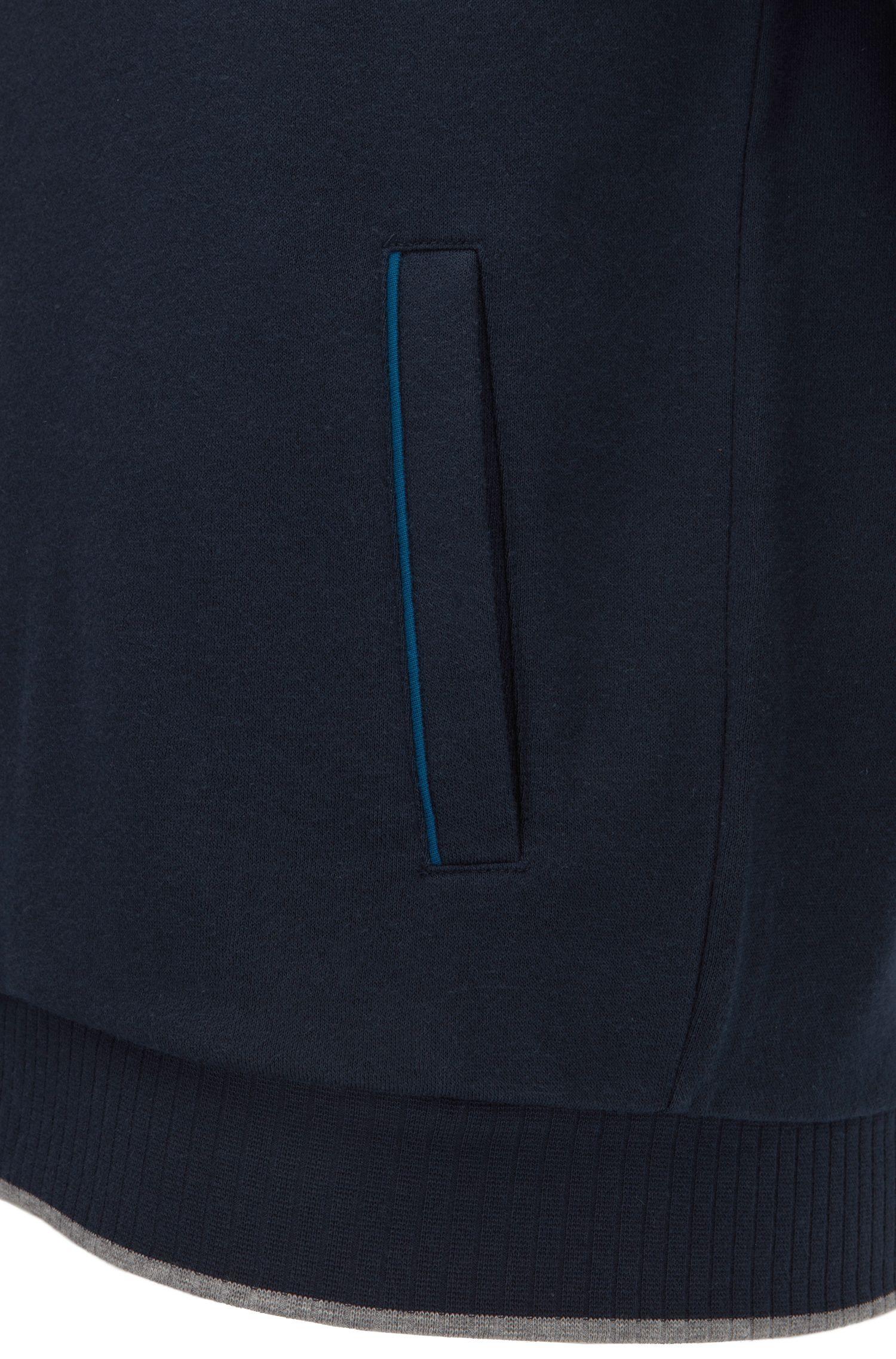 Regular-fit jas van badstof met rits met biesaccent