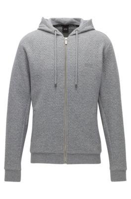 Herringbone-quilted regular-fit hooded jacket in cotton, Grey