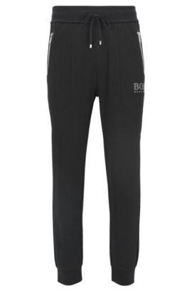 Cotton-blend loungewear trousers, Black